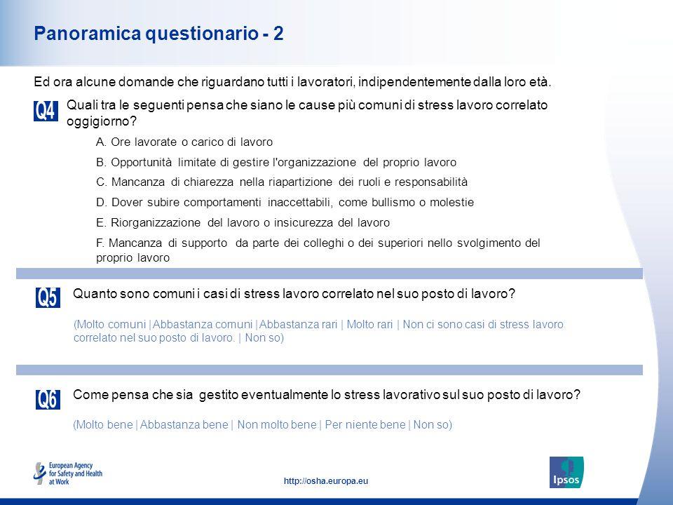 5 http://osha.europa.eu Panoramica questionario - 2 Quali tra le seguenti pensa che siano le cause più comuni di stress lavoro correlato oggigiorno.