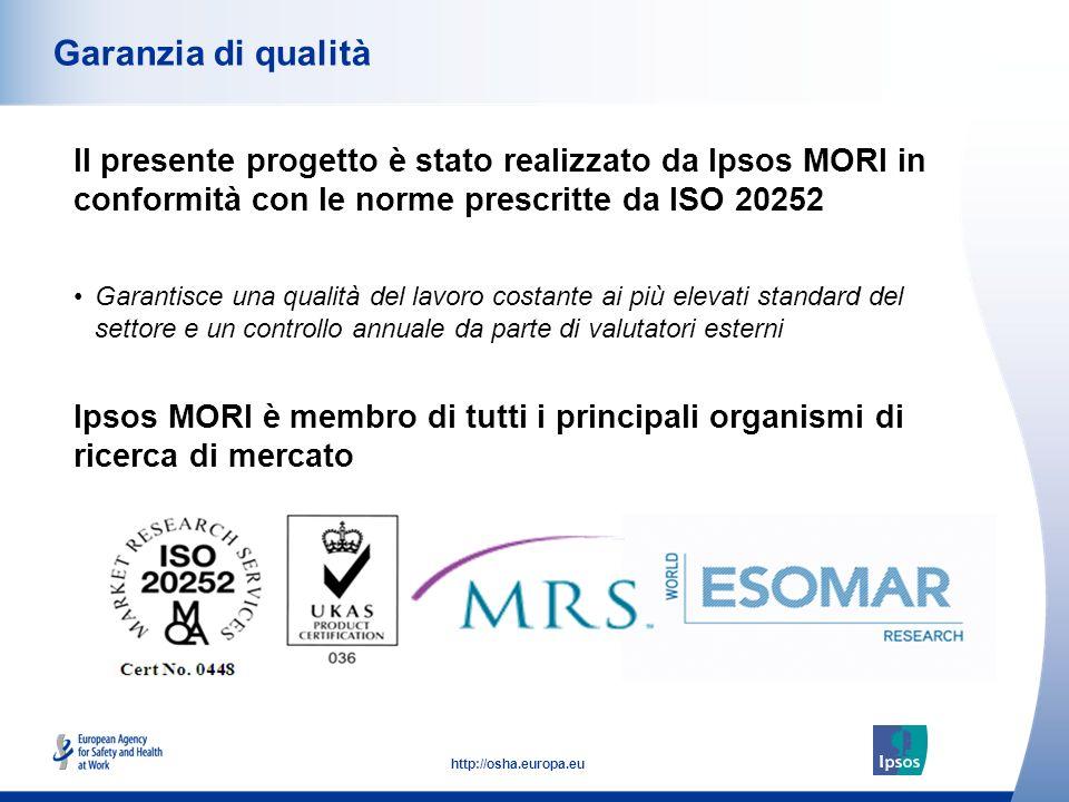 53 http://osha.europa.eu Il presente progetto è stato realizzato da Ipsos MORI in conformità con le norme prescritte da ISO 20252 Garanzia di qualità Ipsos MORI è membro di tutti i principali organismi di ricerca di mercato Garantisce una qualità del lavoro costante ai più elevati standard del settore e un controllo annuale da parte di valutatori esterni