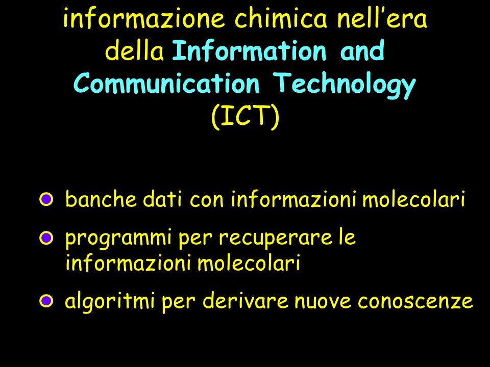 informazione chimica nellera della Information and Communication Technology (ICT) banche dati con informazioni molecolari programmi per recuperare le informazioni molecolari algoritmi per derivare nuove conoscenze