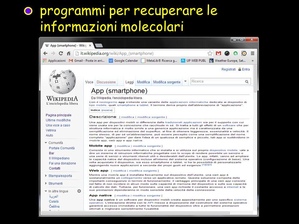 programmi per recuperare le informazioni molecolari