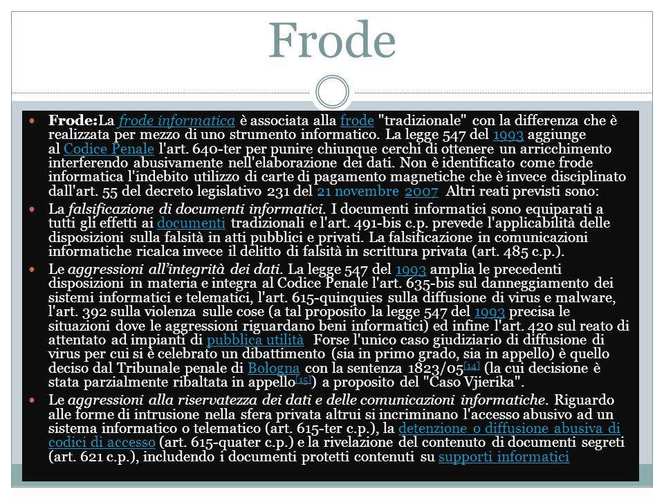 Frode Frode:La frode informatica è associata alla frode