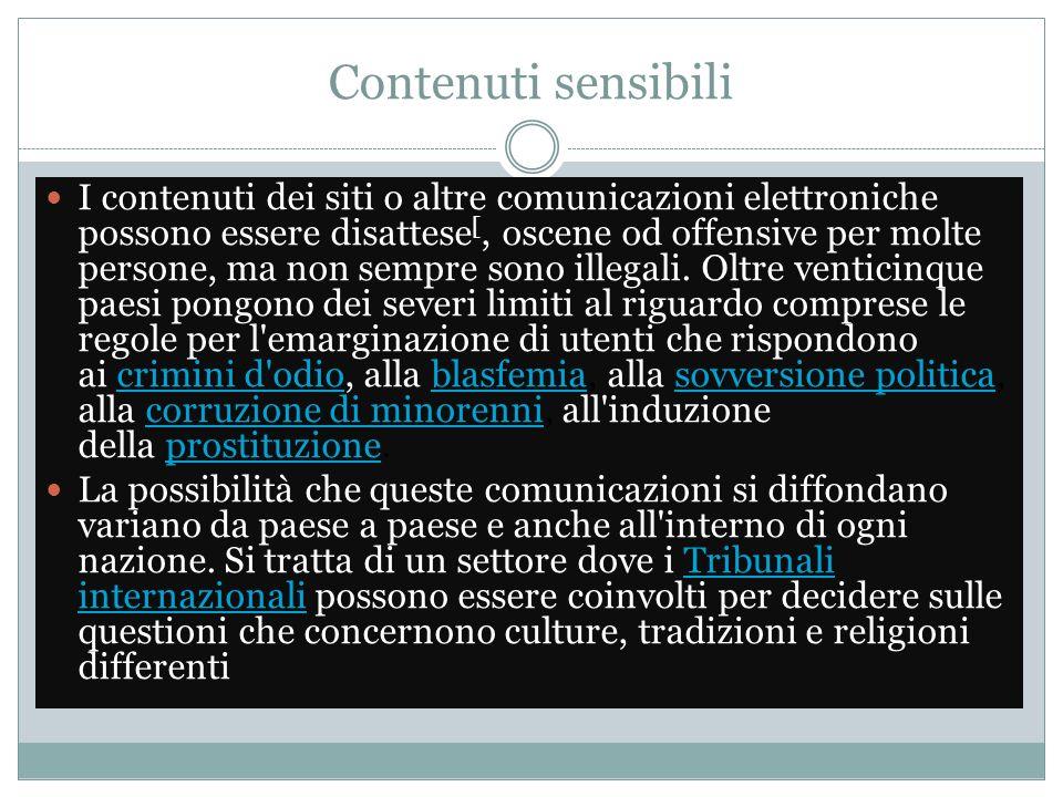 Contenuti sensibili I contenuti dei siti o altre comunicazioni elettroniche possono essere disattese [, oscene od offensive per molte persone, ma non