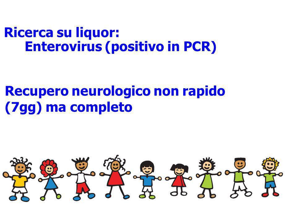 Ricerca su liquor: Recupero neurologico non rapido (7gg) ma completo Enterovirus (positivo in PCR)