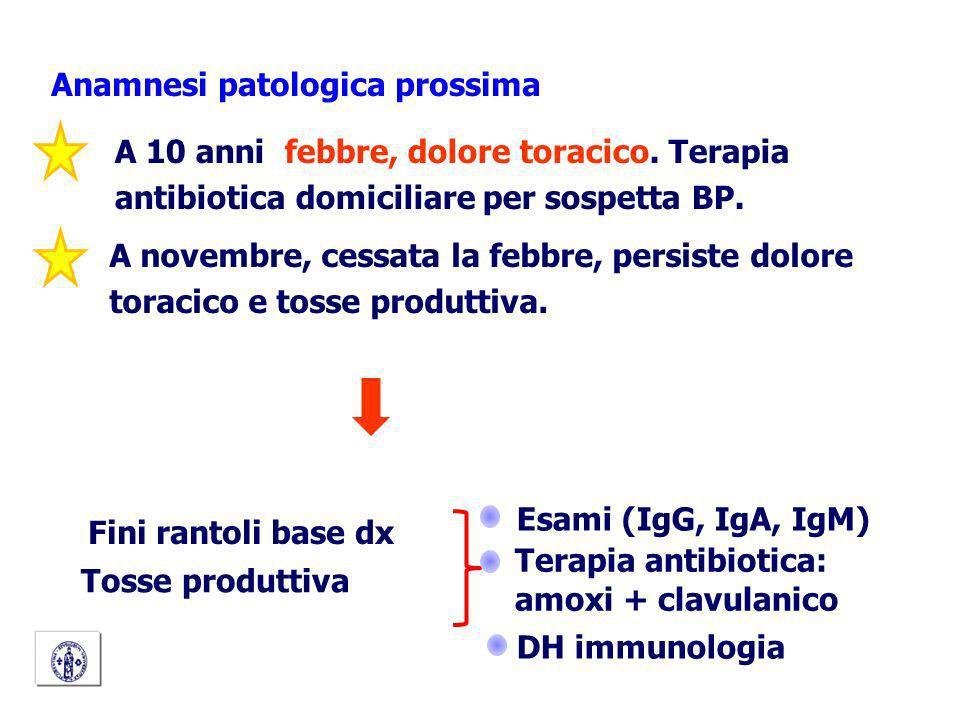 A 10 anni febbre, dolore toracico. Terapia antibiotica domiciliare per sospetta BP. Anamnesi patologica prossima A novembre, cessata la febbre, persis