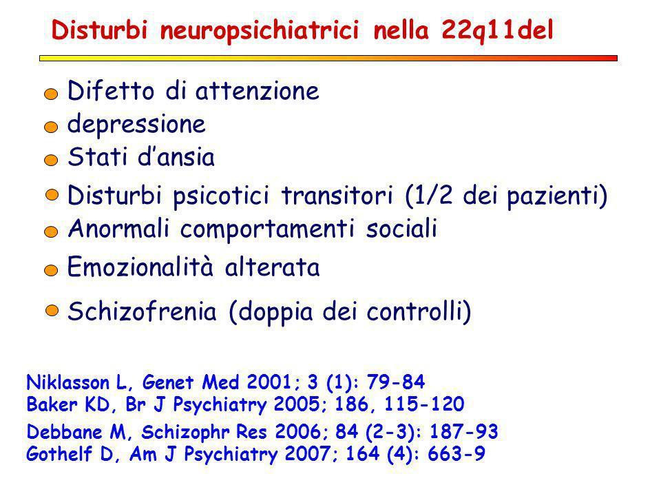 Disturbi neuropsichiatrici nella 22q11del Difetto di attenzione Emozionalità alterata Stati dansia Disturbi psicotici transitori (1/2 dei pazienti) Sc