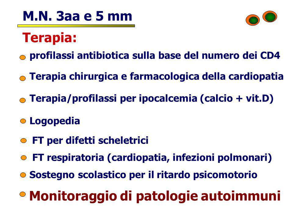 M.N. 3aa e 5 mm profilassi antibiotica sulla base del numero dei CD4 Terapia: Terapia/profilassi per ipocalcemia (calcio + vit.D) Sostegno scolastico