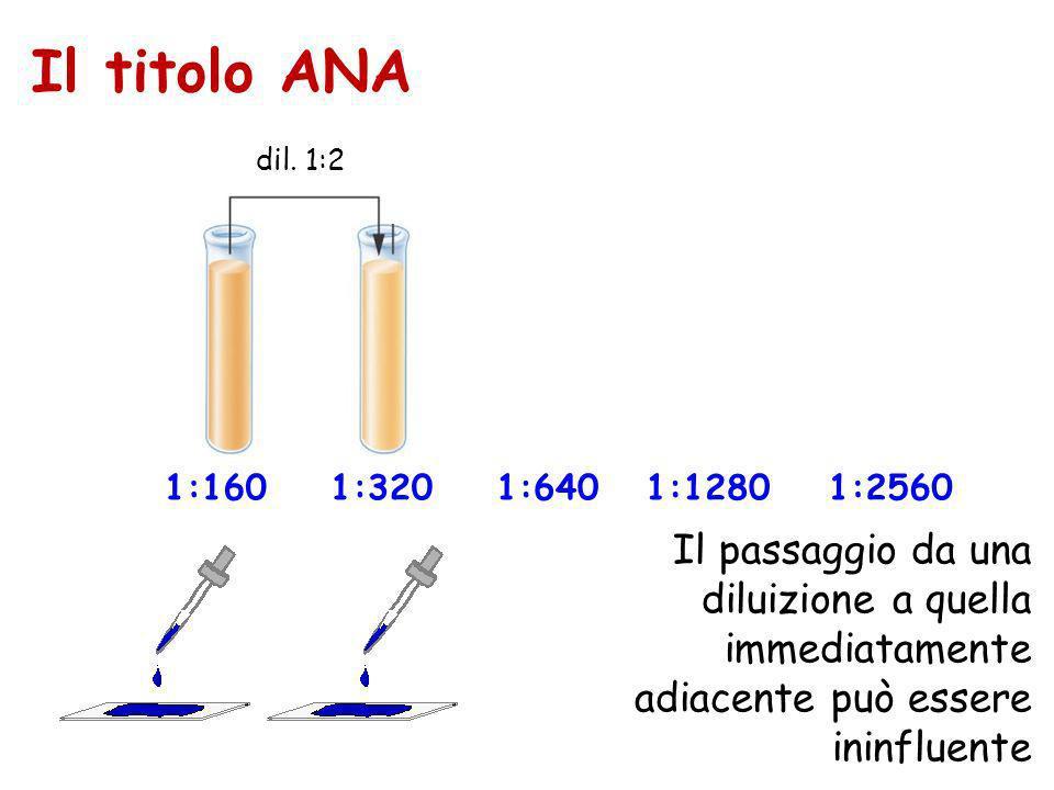 Il titolo ANA dil. 1:2 1:1601:3201:6401:12801:2560 Il passaggio da una diluizione a quella immediatamente adiacente può essere ininfluente