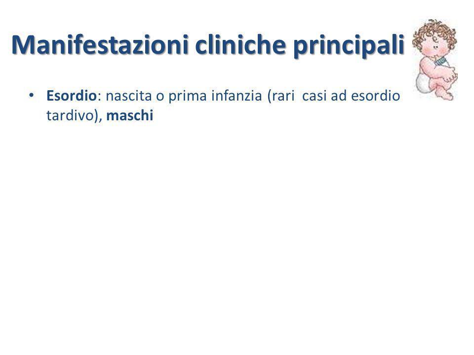 Manifestazioni cliniche principali Esordio: nascita o prima infanzia (rari casi ad esordio tardivo), maschi enteropatia (diarrea intrattabile acquosa