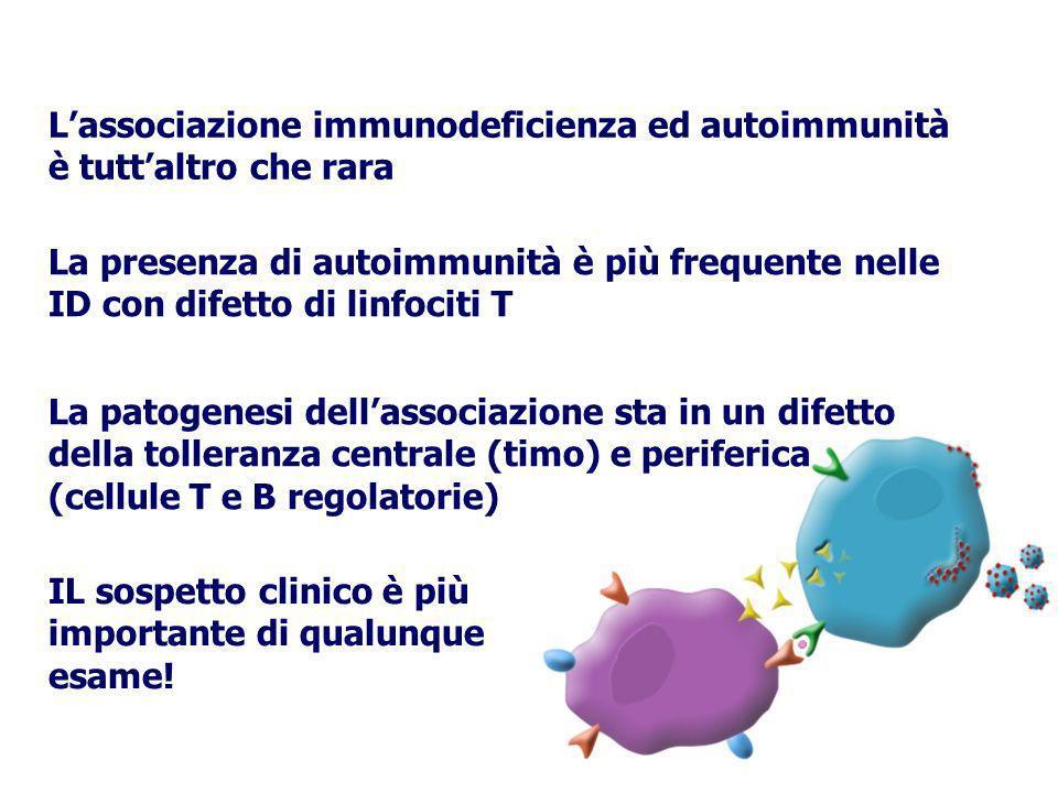 Lassociazione immunodeficienza ed autoimmunità è tuttaltro che rara La presenza di autoimmunità è più frequente nelle ID con difetto di linfociti T La