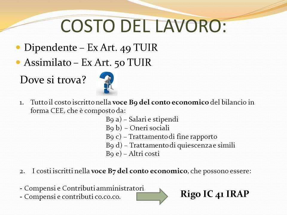 COSTO DEL LAVORO: Dipendente – Ex Art.49 TUIR Assimilato – Ex Art.
