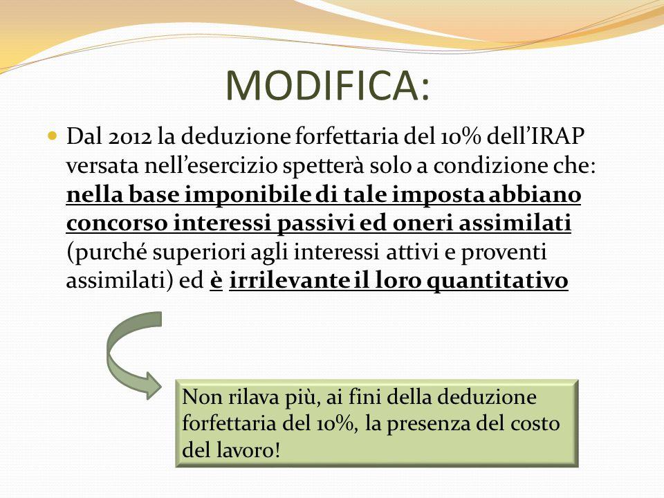 MODIFICA: Dal 2012 la deduzione forfettaria del 10% dellIRAP versata nellesercizio spetterà solo a condizione che: nella base imponibile di tale impos