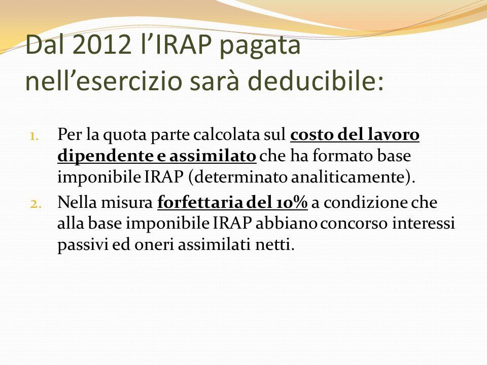 Dal 2012 lIRAP pagata nellesercizio sarà deducibile: 1. Per la quota parte calcolata sul costo del lavoro dipendente e assimilato che ha formato base