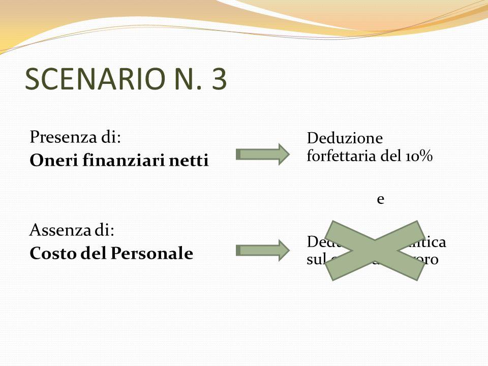SCENARIO N. 3 Presenza di: Oneri finanziari netti Assenza di: Costo del Personale Deduzione forfettaria del 10% e Deduzione analitica sul costo del la