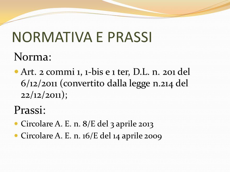 NORMATIVA E PRASSI Norma: Art. 2 commi 1, 1-bis e 1 ter, D.L. n. 201 del 6/12/2011 (convertito dalla legge n.214 del 22/12/2011); Prassi: Circolare A.