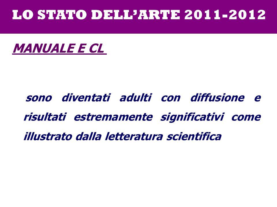 sono diventati adulti con diffusione e risultati estremamente significativi come illustrato dalla letteratura scientifica LO STATO DELLARTE 2011-2012