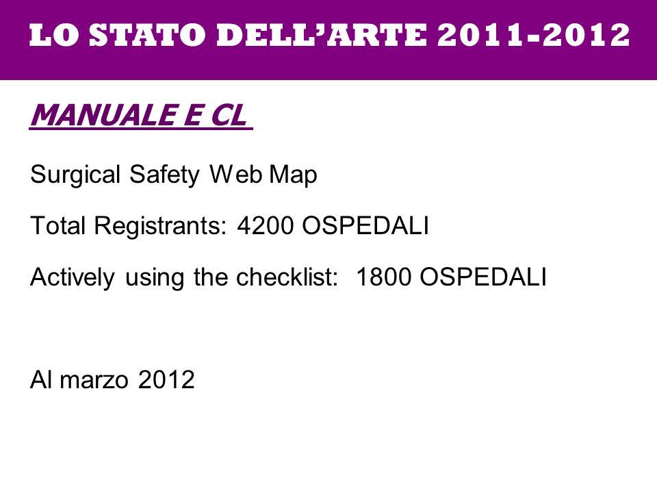 Surgical Safety Web Map Total Registrants: 4200 OSPEDALI Actively using the checklist: 1800 OSPEDALI Al marzo 2012 LO STATO DELLARTE 2011-2012 MANUALE