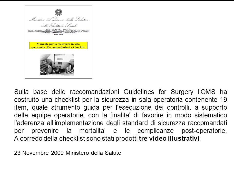 Sulla base delle raccomandazioni Guidelines for Surgery l'OMS ha costruito una checklist per la sicurezza in sala operatoria contenente 19 item, quale