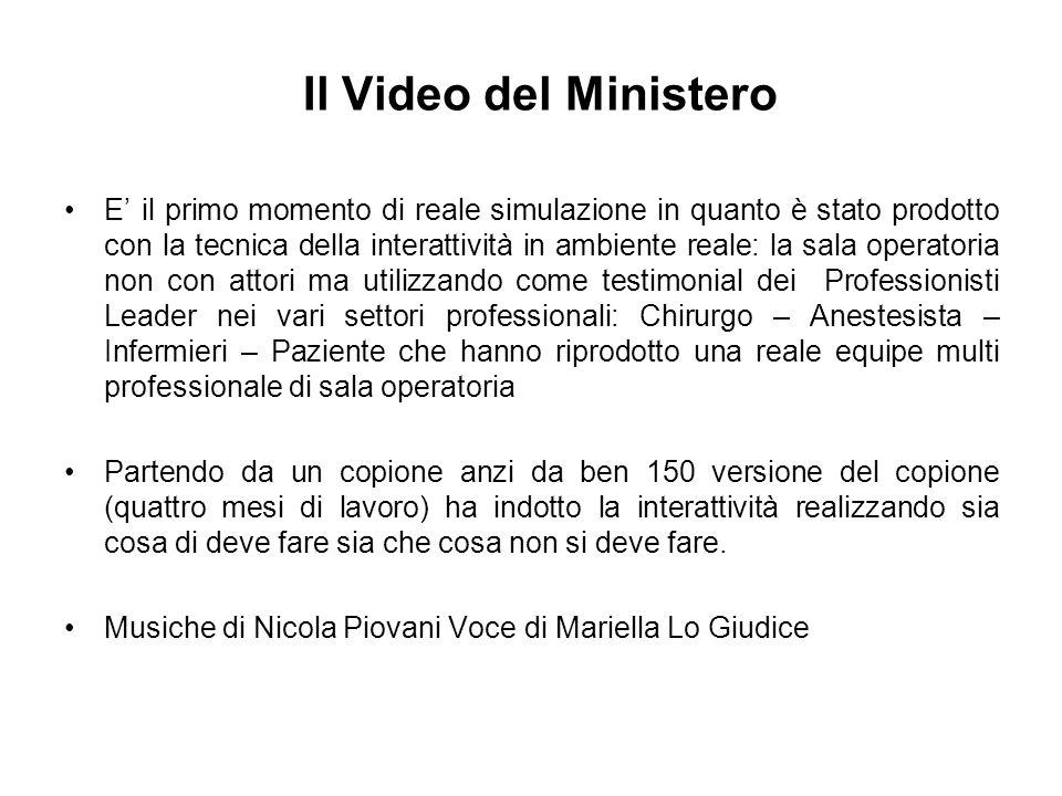 Il Video del Ministero E il primo momento di reale simulazione in quanto è stato prodotto con la tecnica della interattività in ambiente reale: la sal