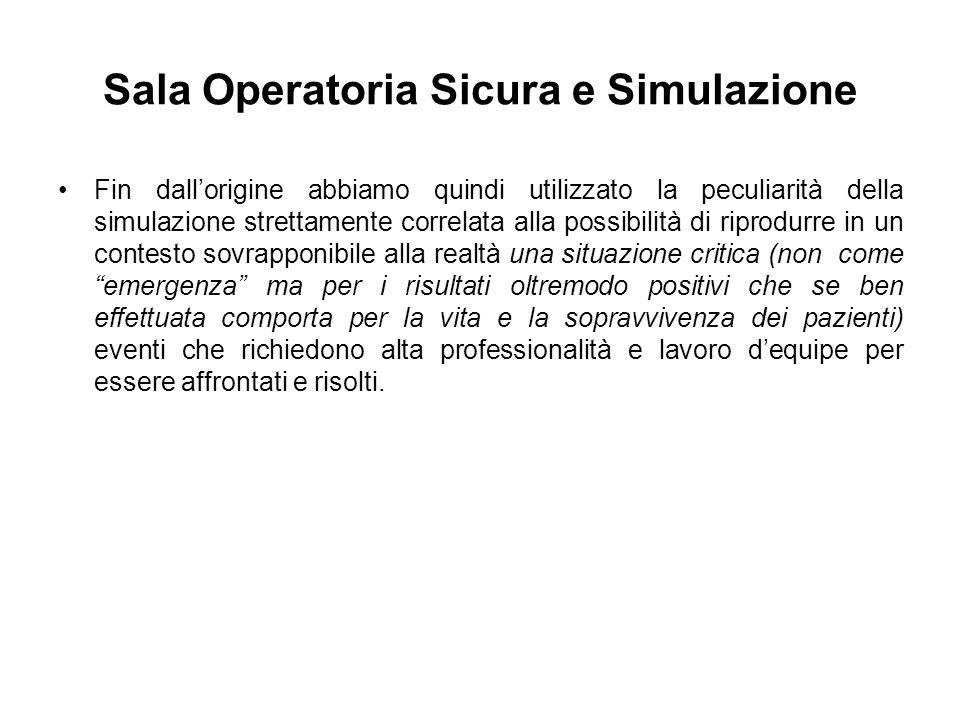 Sala Operatoria Sicura e Simulazione Fin dallorigine abbiamo quindi utilizzato la peculiarità della simulazione strettamente correlata alla possibilit
