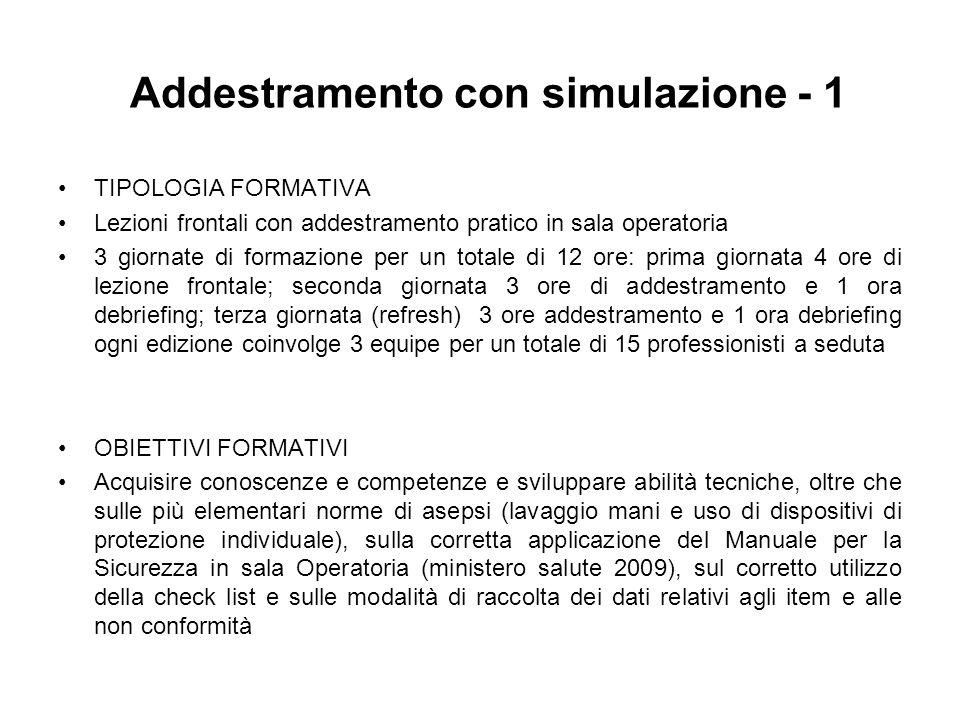 Addestramento con simulazione - 1 TIPOLOGIA FORMATIVA Lezioni frontali con addestramento pratico in sala operatoria 3 giornate di formazione per un to