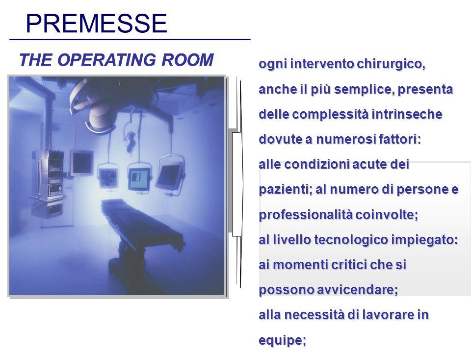 PREMESSE THE OPERATING ROOM ogni intervento chirurgico, anche il più semplice, presenta delle complessità intrinseche dovute a numerosi fattori: alle