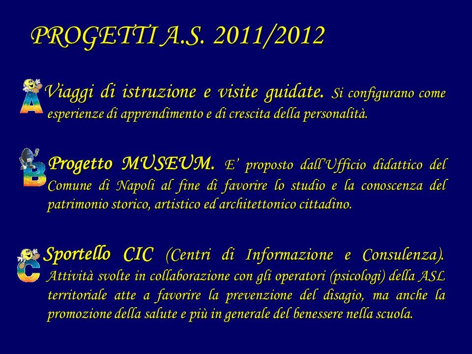 PROGETTI A.S. 2011/2012 Viaggi di istruzione e visite guidate. Si configurano come esperienze di apprendimento e di crescita della personalità. Viaggi