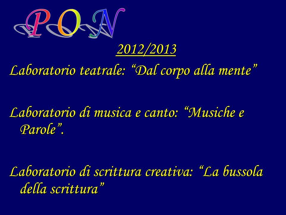2012/2013 Laboratorio teatrale: Dal corpo alla mente Laboratorio di musica e canto: Musiche e Parole. Laboratorio di scrittura creativa: La bussola de