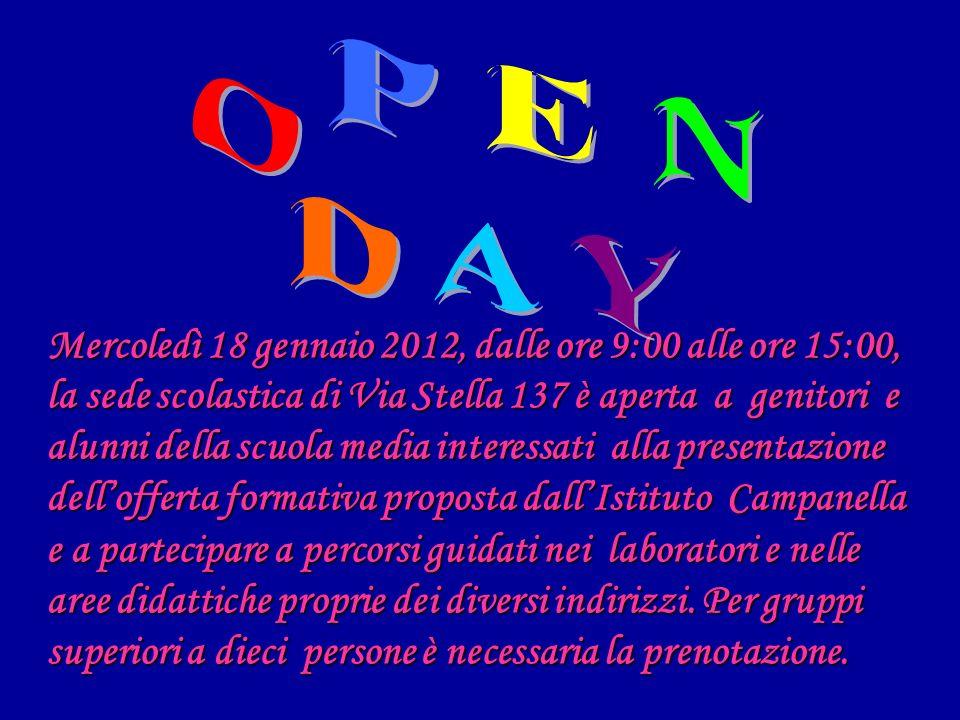 Mercoledì 18 gennaio 2012, dalle ore 9:00 alle ore 15:00, la sede scolastica di Via Stella 137 è aperta a genitori e alunni della scuola media interes