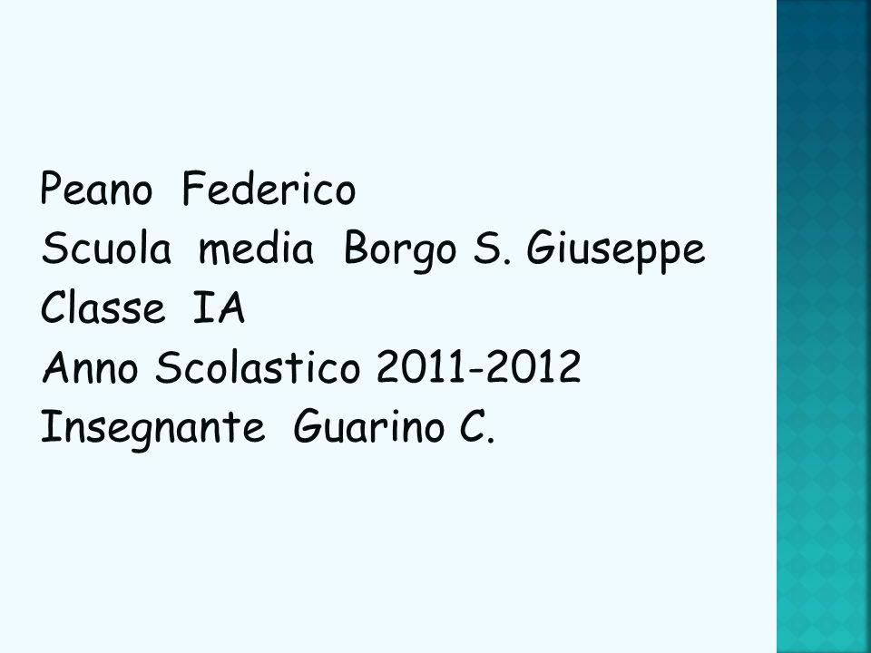Peano Federico Scuola media Borgo S. Giuseppe Classe IA Anno Scolastico 2011-2012 Insegnante Guarino C.