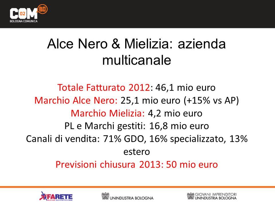 Alce Nero & Mielizia: azienda multicanale Totale Fatturato 2012: 46,1 mio euro Marchio Alce Nero: 25,1 mio euro (+15% vs AP) Marchio Mielizia: 4,2 mio euro PL e Marchi gestiti: 16,8 mio euro Canali di vendita: 71% GDO, 16% specializzato, 13% estero Previsioni chiusura 2013: 50 mio euro