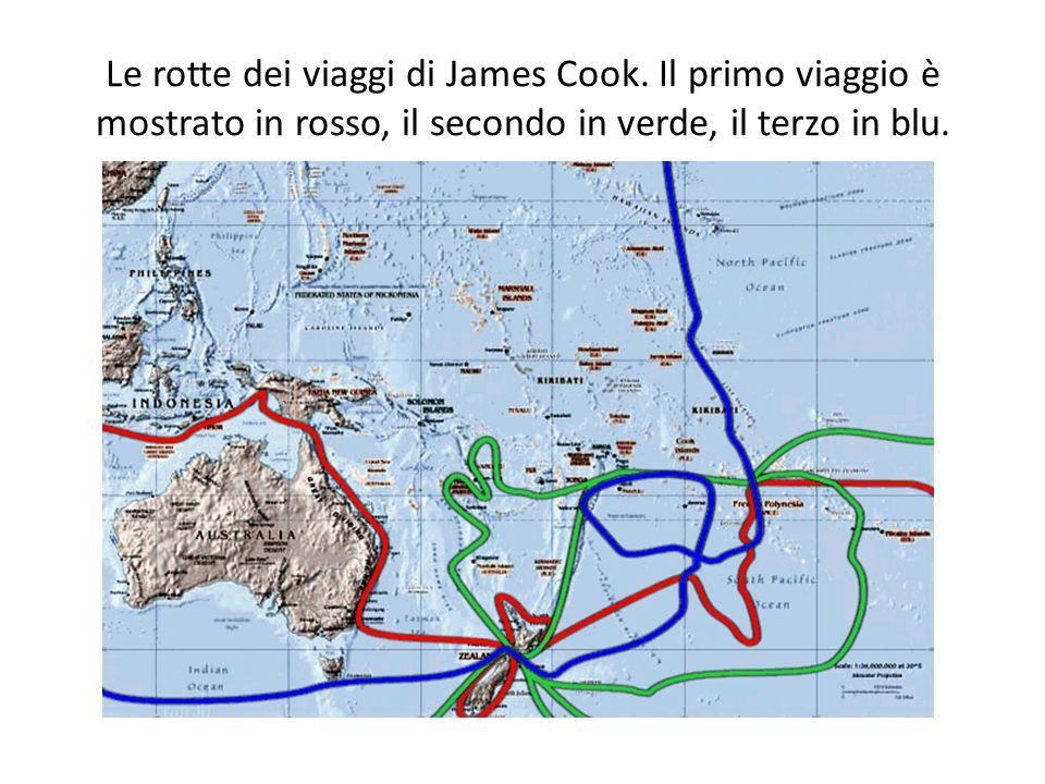 Le rotte dei viaggi di James Cook.