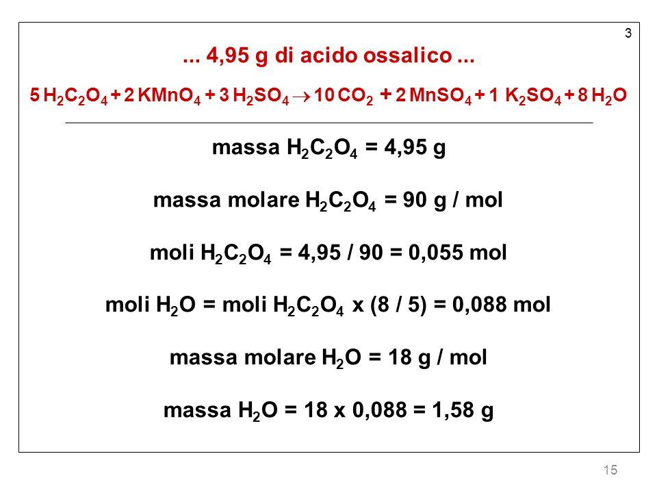 15 3...4,95 g di acido ossalico...