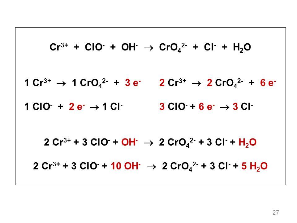 27 Cr 3+ + ClO - + OH - CrO 4 2- + Cl - + H 2 O 1 Cr 3+ 1 CrO 4 2- + 3 e - 2 Cr 3+ 2 CrO 4 2- + 6 e - 1 ClO - + 2 e - 1 Cl - 3 ClO - + 6 e - 3 Cl - 2 Cr 3+ + 3 ClO - + OH - 2 CrO 4 2- + 3 Cl - + H 2 O 2 Cr 3+ + 3 ClO - + 10 OH - 2 CrO 4 2- + 3 Cl - + 5 H 2 O