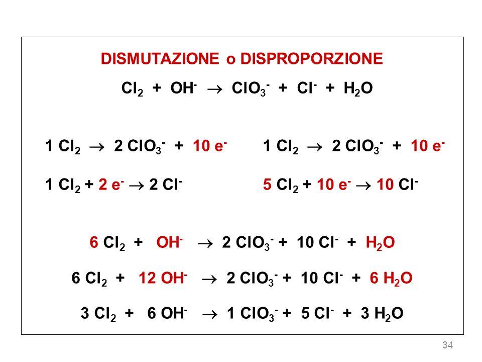 34 DISMUTAZIONE o DISPROPORZIONE Cl 2 + OH - ClO 3 - + Cl - + H 2 O 1 Cl 2 2 ClO 3 - + 10 e - 1 Cl 2 + 2 e - 2 Cl - 5 Cl 2 + 10 e - 10 Cl - 6 Cl 2 + OH - 2 ClO 3 - + 10 Cl - + H 2 O 6 Cl 2 + 12 OH - 2 ClO 3 - + 10 Cl - + 6 H 2 O 3 Cl 2 + 6 OH - 1 ClO 3 - + 5 Cl - + 3 H 2 O