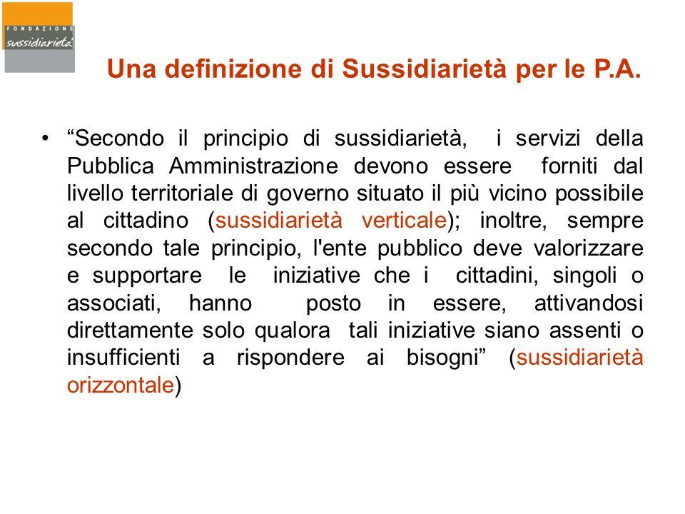 Secondo il principio di sussidiarietà, i servizi della Pubblica Amministrazione devono essere forniti dal livello territoriale di governo situato il p