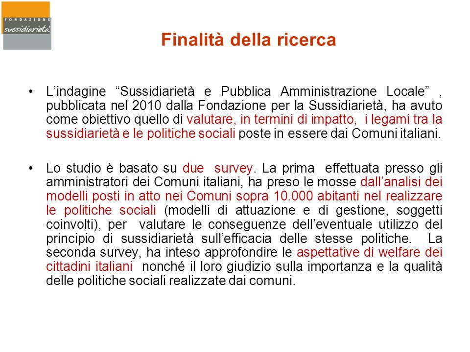 Finalità della ricerca Lindagine Sussidiarietà e Pubblica Amministrazione Locale, pubblicata nel 2010 dalla Fondazione per la Sussidiarietà, ha avuto