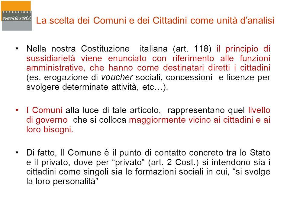 La scelta dei Comuni e dei Cittadini come unità danalisi Nella nostra Costituzione italiana (art. 118) il principio di sussidiarietà viene enunciato c