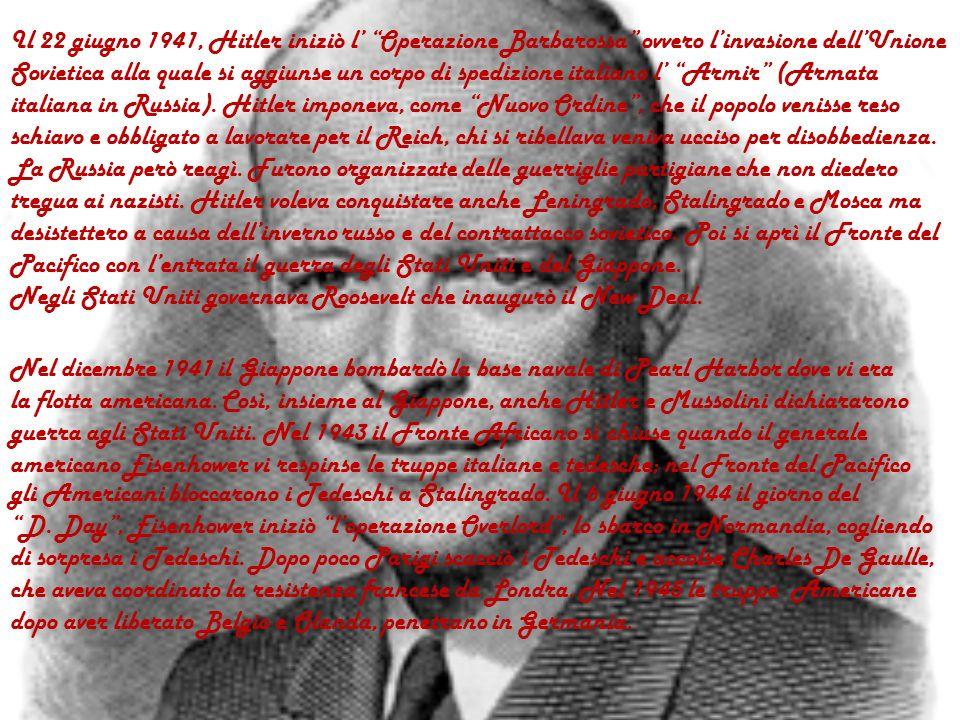 Mussolini ebbe il compito di scacciare gli Inglesi dallEgitto ma non ci riuscì e si aprì il fronte africano. Il 22 maggio1940 le SS inaugurarono il lo