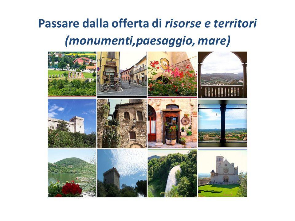Passare dalla offerta di risorse e territori (monumenti,paesaggio, mare)