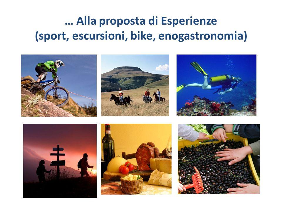 … Alla proposta di Esperienze (sport, escursioni, bike, enogastronomia) ecc.)