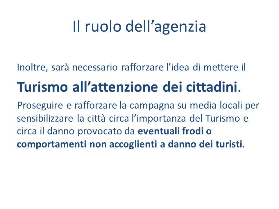 Il ruolo dellagenzia Inoltre, sarà necessario rafforzare lidea di mettere il Turismo allattenzione dei cittadini.