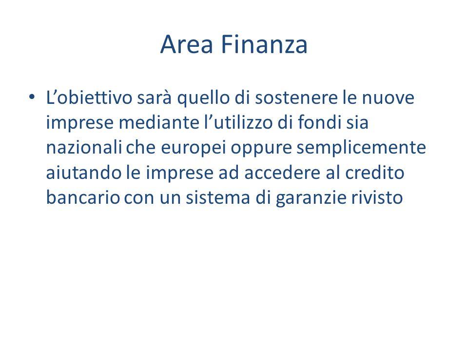 Area Finanza Lobiettivo sarà quello di sostenere le nuove imprese mediante lutilizzo di fondi sia nazionali che europei oppure semplicemente aiutando le imprese ad accedere al credito bancario con un sistema di garanzie rivisto