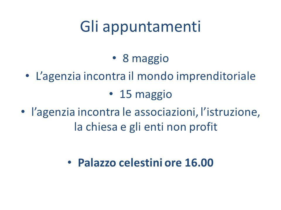 Gli appuntamenti 8 maggio Lagenzia incontra il mondo imprenditoriale 15 maggio lagenzia incontra le associazioni, listruzione, la chiesa e gli enti non profit Palazzo celestini ore 16.00