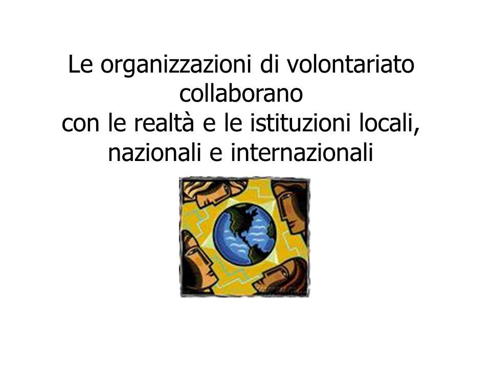 Le organizzazioni di volontariato collaborano con le realtà e le istituzioni locali, nazionali e internazionali