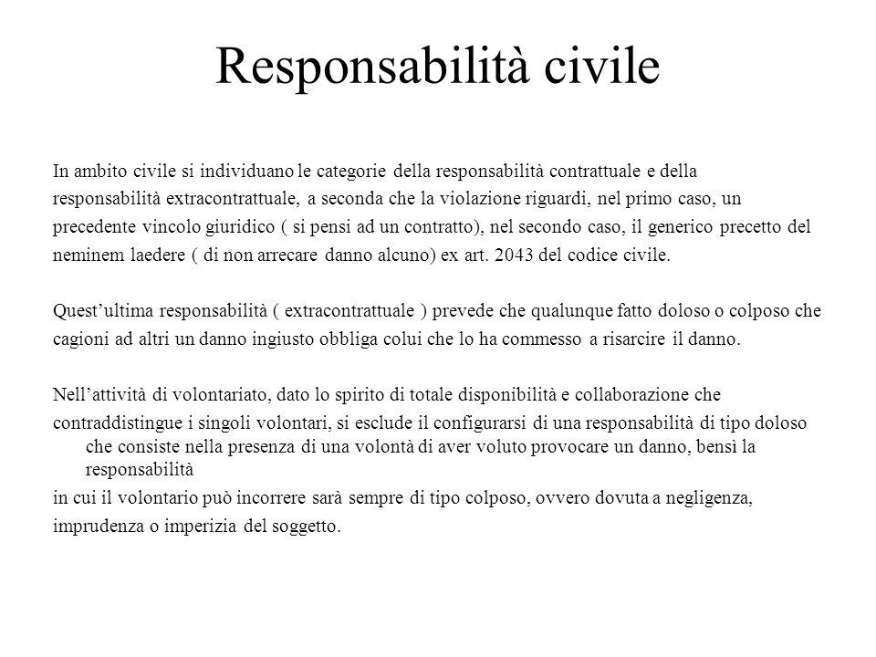 Responsabilità civile In ambito civile si individuano le categorie della responsabilità contrattuale e della responsabilità extracontrattuale, a secon