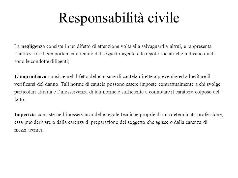 Responsabilità civile La negligenza consiste in un difetto di attenzione volta alla salvaguardia altrui, e rappresenta lantitesi tra il comportamento