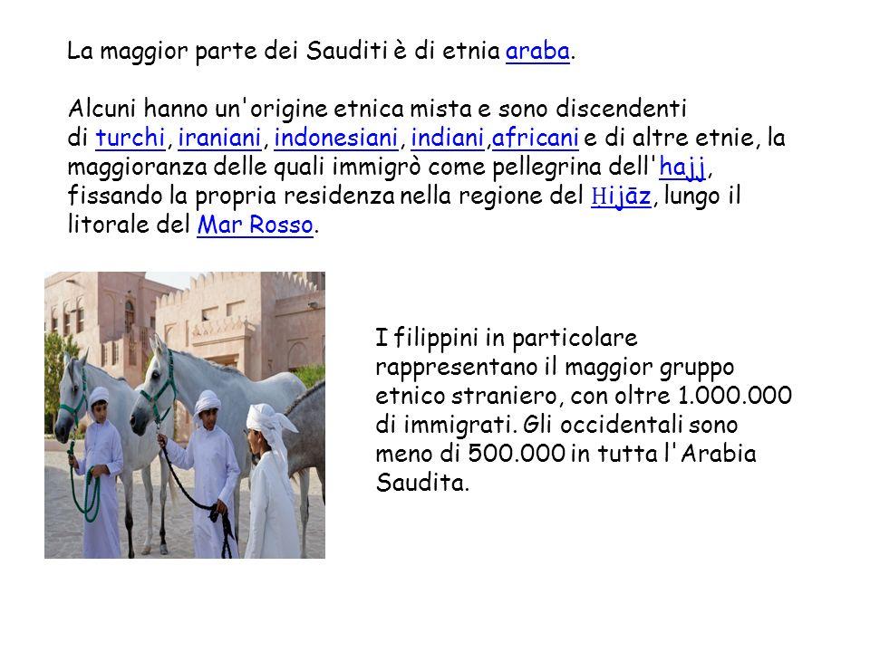 La maggior parte dei Sauditi è di etnia araba.araba Alcuni hanno un'origine etnica mista e sono discendenti di turchi, iraniani, indonesiani, indiani,