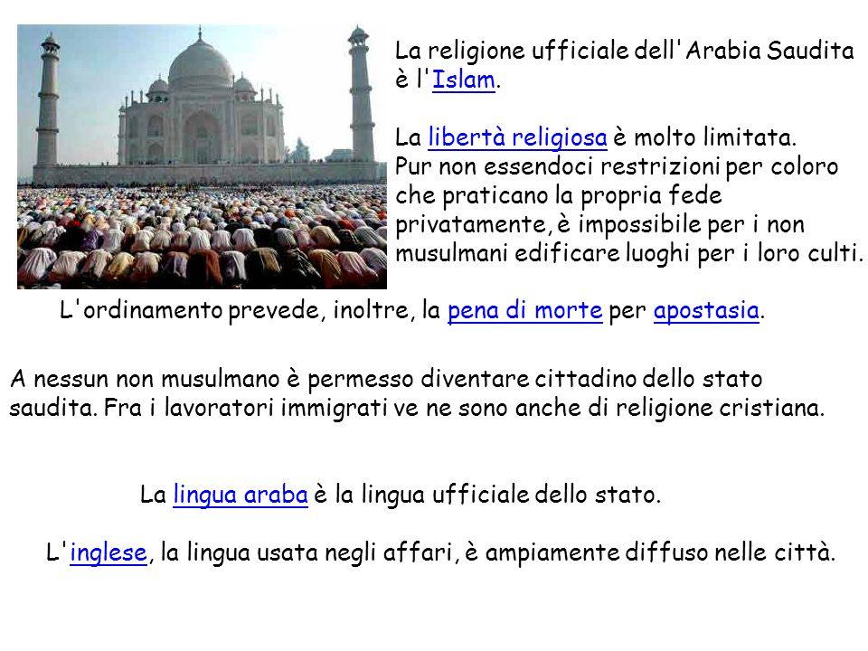 La religione ufficiale dell'Arabia Saudita è l'Islam.Islam La libertà religiosa è molto limitata.libertà religiosa Pur non essendoci restrizioni per c