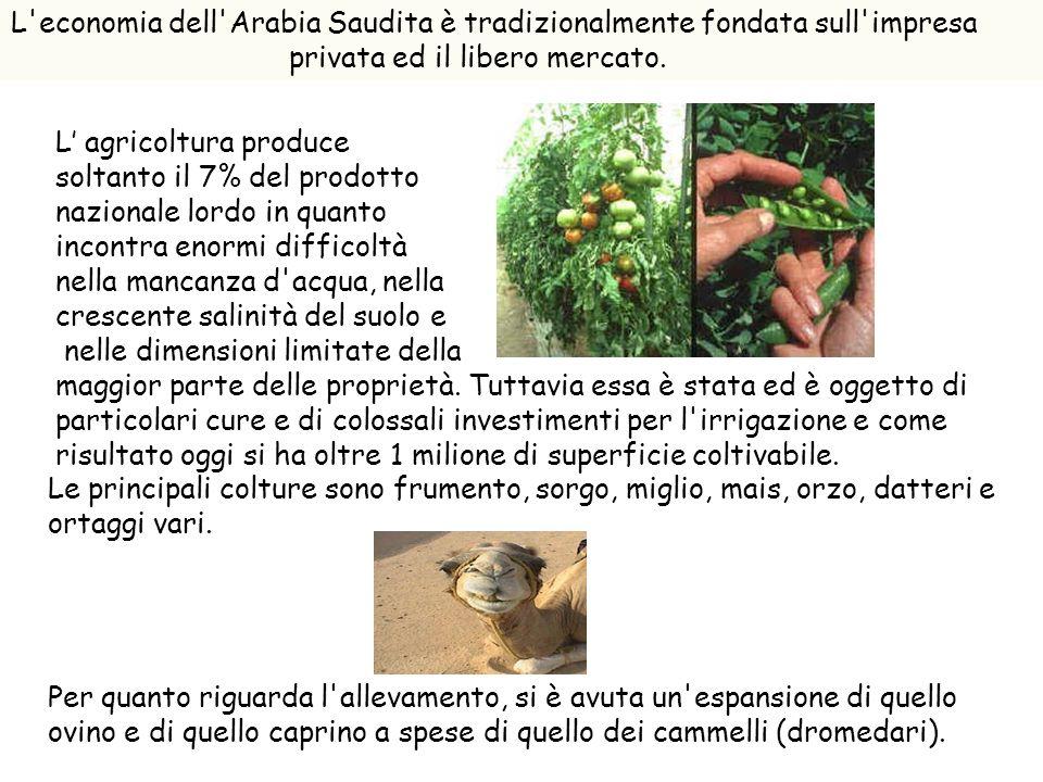 L'economia dell'Arabia Saudita è tradizionalmente fondata sull'impresa privata ed il libero mercato. L agricoltura produce soltanto il 7% del prodotto