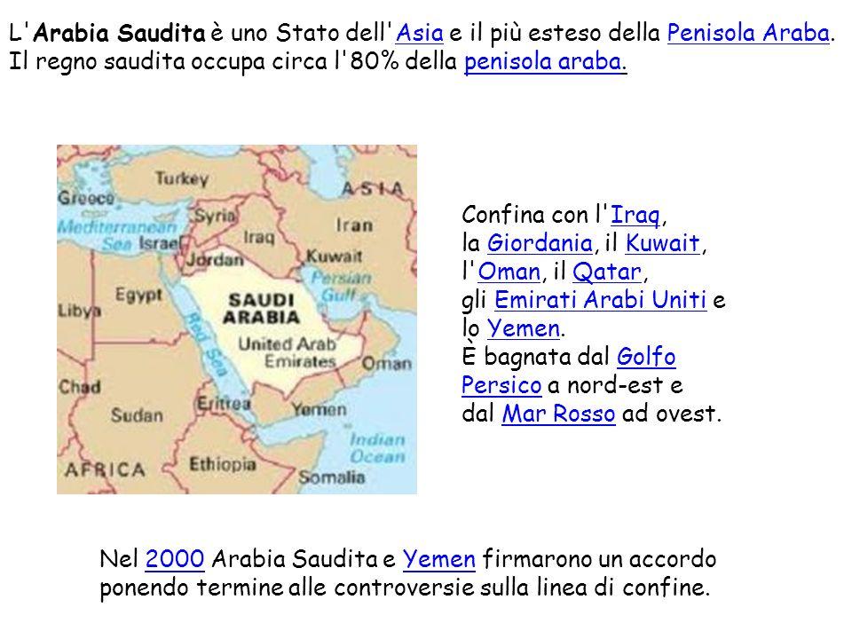 L'Arabia Saudita è uno Stato dell'Asia e il più esteso della Penisola Araba.AsiaPenisola Araba Il regno saudita occupa circa l'80% della penisola arab